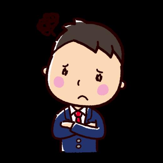 悩む表情のイラスト(男性・ビジネスマン)(2カット)