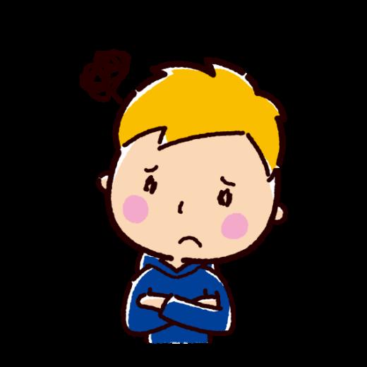 悩むの表情のイラスト(若者・男性)(2カット)