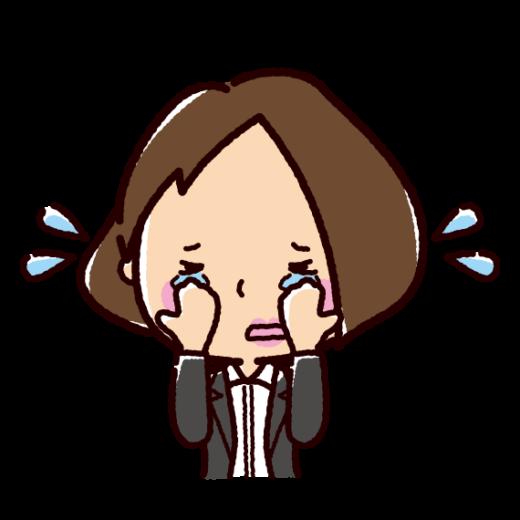 泣く表情のイラスト(女性・OL)(2カット)
