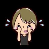 泣く表情のイラスト(若者・女性)