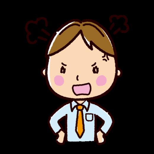 怒る表情のイラスト(男性・ビジネスマン)(2カット)