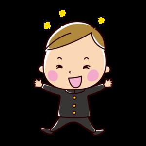 飛び跳ねて喜ぶ学生のイラスト(男子・制服)