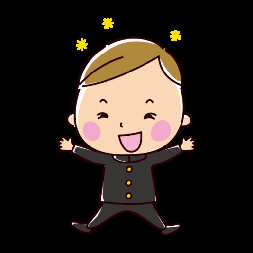 飛び跳ねて喜ぶ学生のイラスト(男子・制服)(2カット)