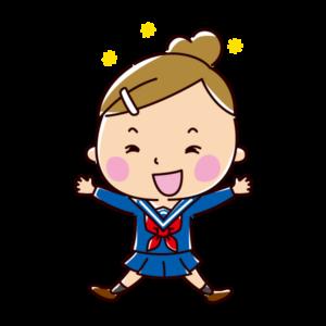 飛び跳ねて喜ぶ学生のイラスト(女子・制服)