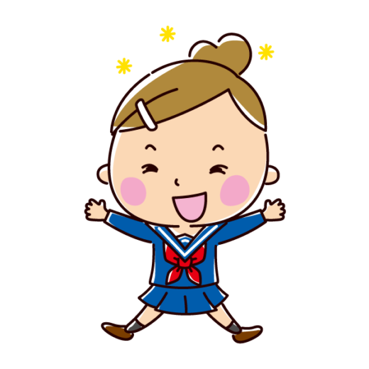 飛び跳ねて喜ぶ学生のイラスト(女子・制服)(2カット)