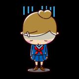 肩を落として落ち込む学生のイラスト(女子・制服)