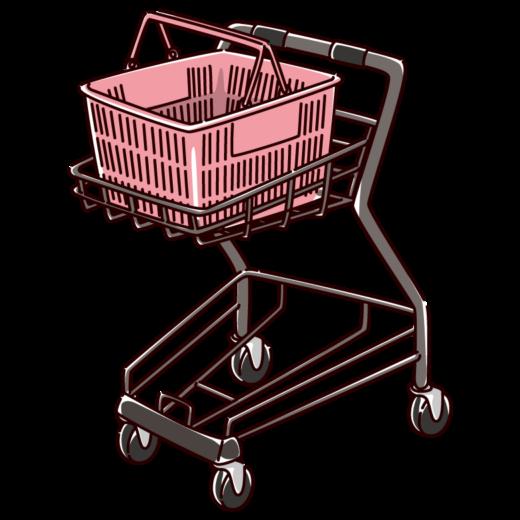 ショッピングカートと買い物かごのイラスト(2カラー)