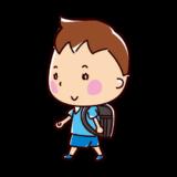 歩く小学生のイラスト(男の子)