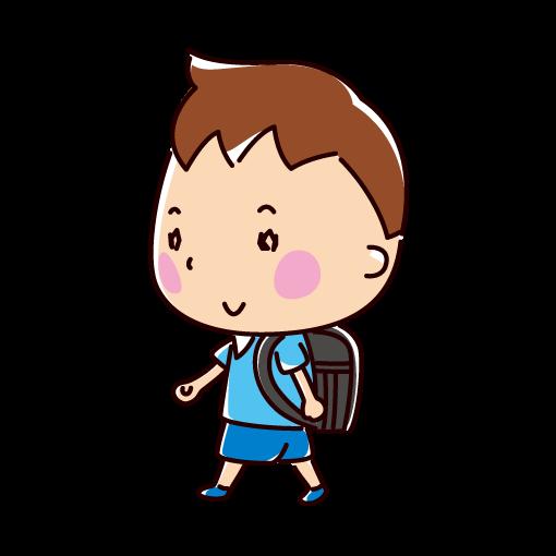 歩く小学生のイラスト(男の子)(2カット)