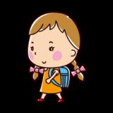 歩く小学生のイラスト(女の子)