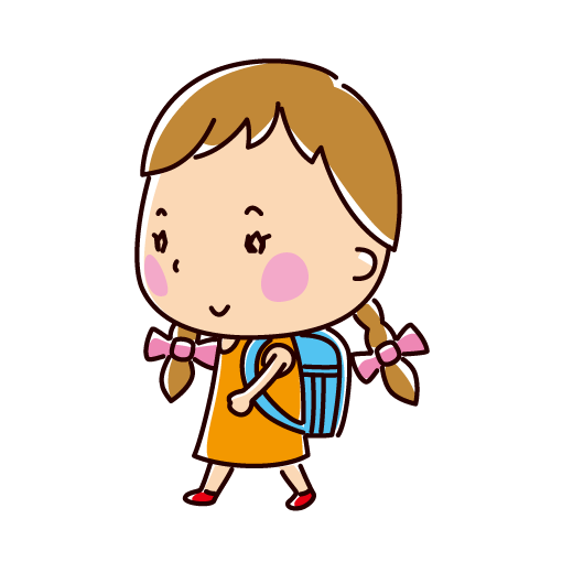 歩く小学生のイラスト(女の子)(2カット)