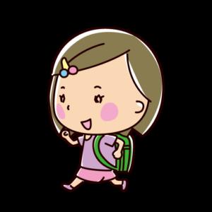 走る小学生のイラスト(女の子)