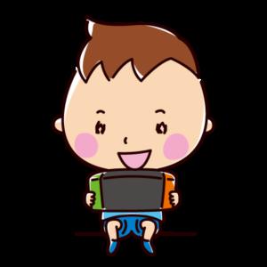 ゲームをする子供のイラスト(男の子)