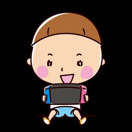 ゲームをする子供のイラスト(男の子)(2カット)