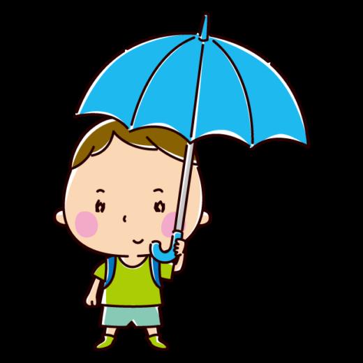 傘をさす小学生のイラスト(男の子)(2カット)