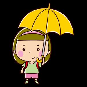 傘をさす小学生のイラスト(女の子)