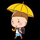 傘をさして歩く小学生のイラスト(男の子)