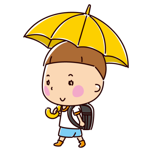 傘をさして歩く小学生のイラスト(男の子)(2カット)