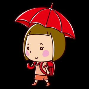 傘をさして歩く小学生のイラスト(女の子)