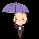 傘をさす女性のイラスト(OL)