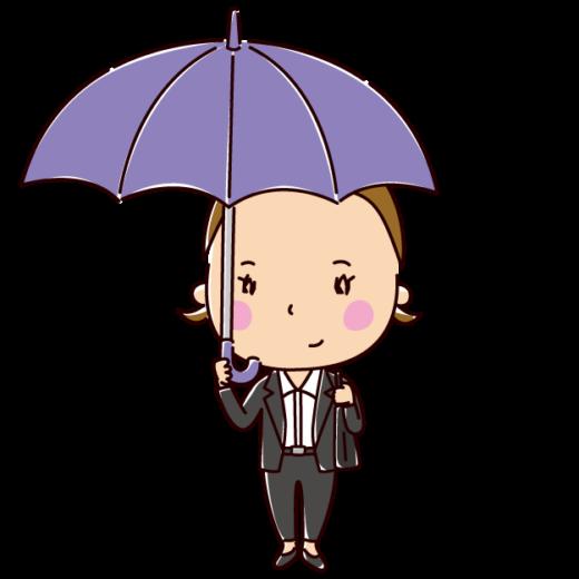 傘をさす女性のイラスト(OL)(2カット)