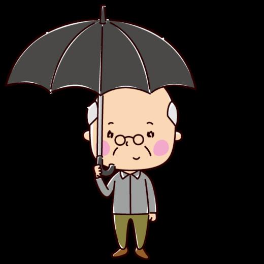 傘をさす男性のイラスト(老人)(2カット)
