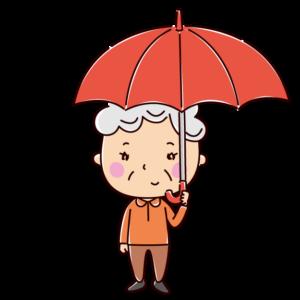 傘をさす女性のイラスト(老人)