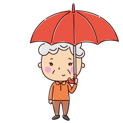 傘をさす女性のイラスト(老人)(2カット)