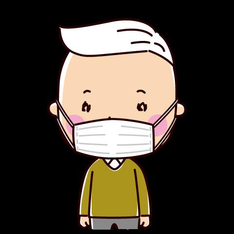 マスクをした老人のイラスト(男性)(2カット)