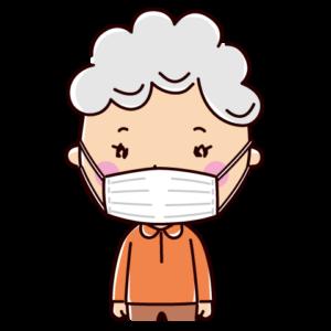 マスクをした老人のイラスト(女性)