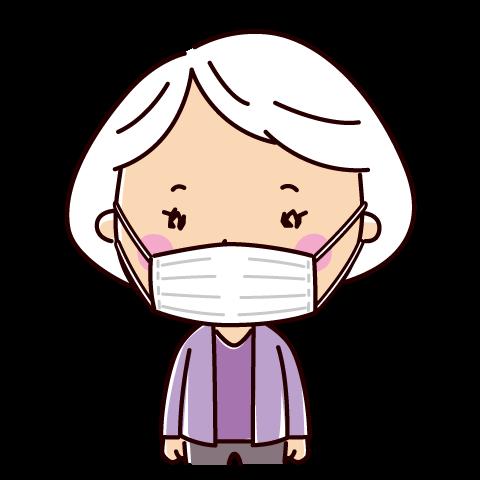 マスクをした老人のイラスト(女性)(2カット)
