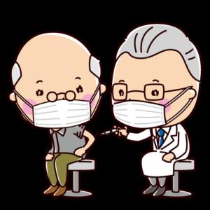 ワクチン・予防接種のイラスト(おじいさん)