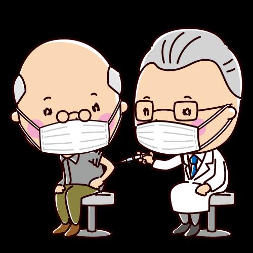 予防接種のイラスト(老人・男性)(2カット)