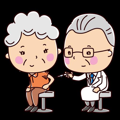 予防接種のイラスト(老人・女性)(2カット)