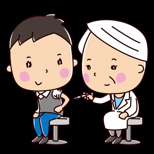 予防接種のイラスト(男性)(2カット)