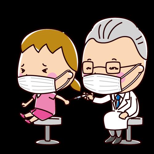 予防接種のイラスト(女の子)(2カット)