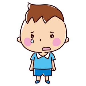 悲しそうに立っている子供のイラスト(男の子)
