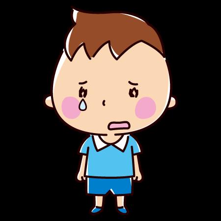悲しそうに立っている子供のイラスト(男の子)(2カット)