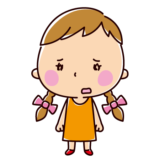 悲しそうに立っている子供のイラスト(女の子)