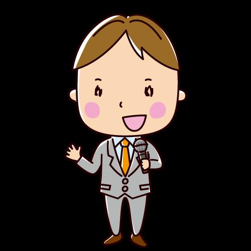スピーチする人のイラスト(男性・サラリーマン)(2カット)