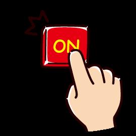 ONボタンを押すイラスト