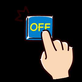 OFFボタンを押すイラスト