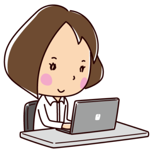 パソコンを使う女性のイラスト(OL)