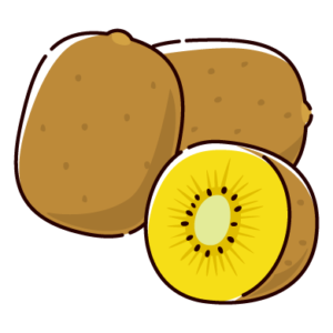 キウイフルーツのイラスト(黄色)