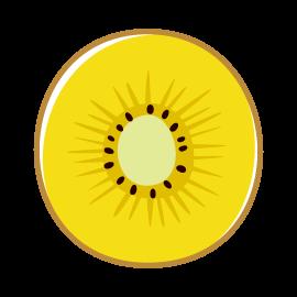 キウイフルーツのイラスト(輪切り・黄色)