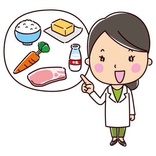 説明をする栄養士のイラスト(女性)(2カット)