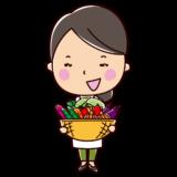 野菜を抱えた栄養士のイラスト(女性)