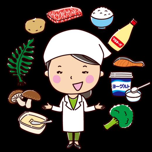 食べ物と栄養士のイラスト(女性)