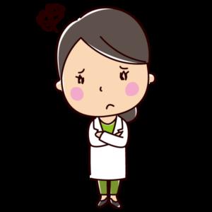 悩む(困る)栄養士のイラスト(女性)