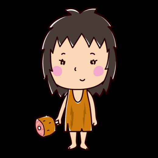原始人のイラスト(女性)(2カット)